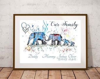 Giclee print, Family quote PRINT, elephant family print, elephant art, watercolour painting, elephant lover gift, watercolour animal print