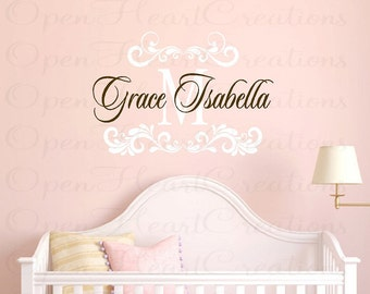Girl Name Wall Decals with Shabby Chic Elegant Accents - Baby Nursery Vinyl Wall Decal with Initial Name for Teen FN0414