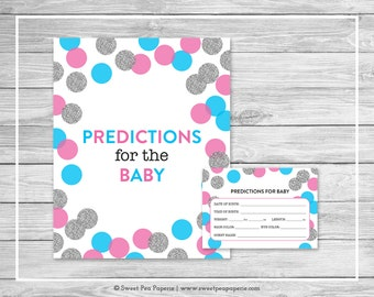 Pink and Blue Gender Reveal Predictions for Baby - Printable Gender Reveal Predictions for Baby - Pink Blue Silver Gender Reveal - SP113