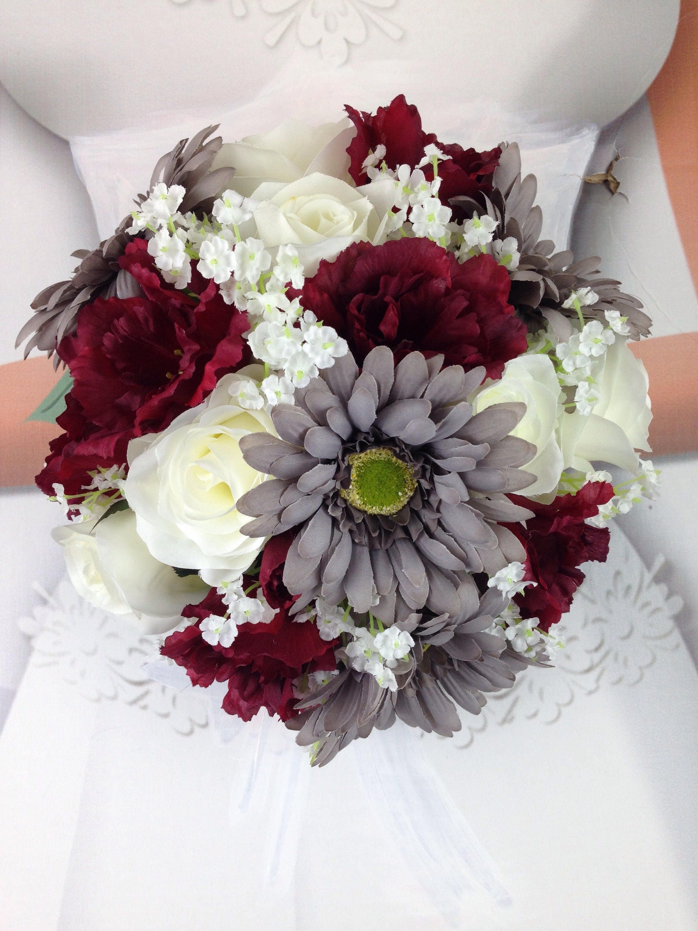 New artificial burgundy gray and white wedding flowers izmirmasajfo Image collections