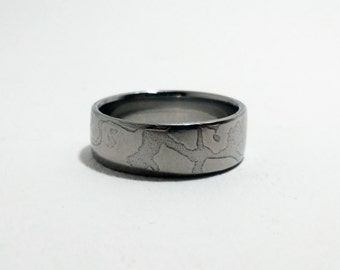Damascus ring stainless Steel wood grain metal mix band Ring Stainless Mokume Gane