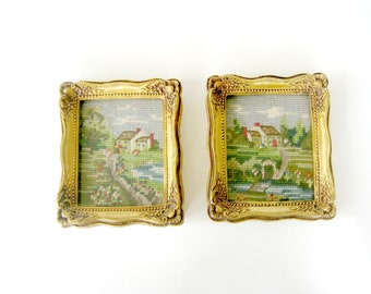 Pair Spring Scenes Needlepoint, Vintage Framed Needlepoint, Pair of Landscape Needlepoint, Pair of Framed Needlepoint Spring Scenes