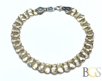 1/10 14K Gold & .925 Sterling Silver Round Link Chain Bracelet