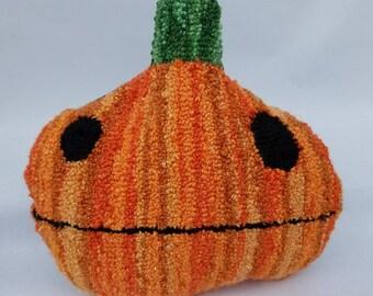 halloween...punch needle pillow...pumpkin priscilla