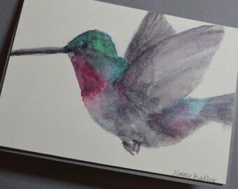 Watercolor Hummingbird Notecards - Set of 4 Hummingbird Notecards with Envelopes