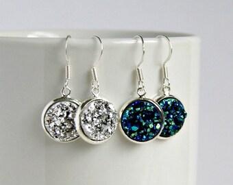 pop rox faux druzy drop earrings, dangle, blue, silver, gift for her, under 20