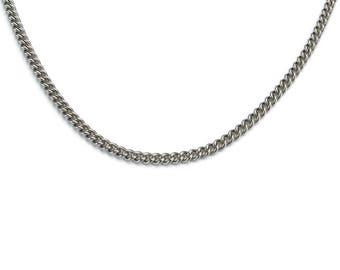 Medium Curbed Chain Titanium Necklace for Men, Pure Titanium Chain Necklace for Sensitive Skin, Titanium Mens Jewelry