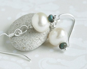 Pearl Earrings, Turquoise, Sterling Silver Jewelry, June Birthstone,