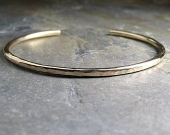 gold cuff hammered skinny minimalist gold-fill 14kt gold-fill gold filled cuff - CityLightsGold