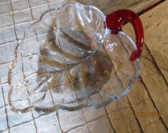 Vintage Clear Glass Leaf Candy Dish with a Ruby Red Stem - Trinket Candy Nut Dish Mints Snacks Bowl