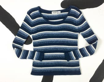 90s Blue and White Stripe Chunky Ribbed Knit Long Sleeve Sweater / Grunge / Skater / Scoop Neck / Cristina / Large / y2k / Rave / Club Kid