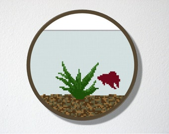 Counted Cross stitch Pattern PDF. Instant download. Fishbowl Aquarium. Includes easy beginner instructions.