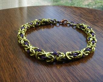 Peridot Green and Purple Enameled Copper Chainmaille Bracelet