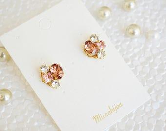 Crystal Swarovski Elements Earrings - Pink