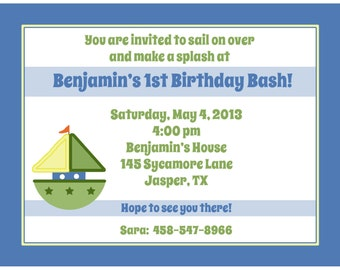 20 Personalized Birthday Invitations   -  Boat