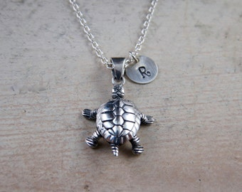 Sterling silver turtle necklace, turtle necklace, personalized turtle necklace, tortoise necklace, box turtle, reptile necklace, tortoise