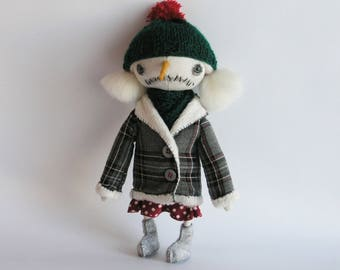 OOAK Art Doll Snow Woman Ready for Winter