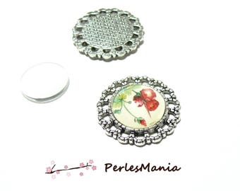 20 pieces: 10 round wheel ARTY 235 old silver and 10 other connector cabochons