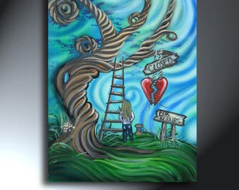 Broken Heart Closed For Repairs Original Artwork Size 16 x 20 On Canvas Swirly Tree
