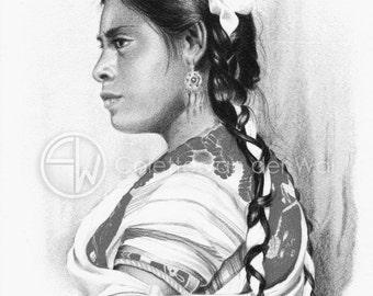 Maya vrouw uit Chiapas, Mexico - Zwart/wit Print van mijn originele illustratie - Afmeting papier A4
