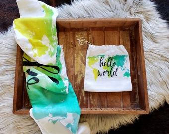 SALE** Hello World Map-  Muslin  Blanket