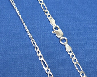 Necklace Sterling Silver Figaro 080 Chain 16, 18, 20, 24 or 30 inches 2.9mm Style no. 172