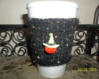 Halloween Hand Knitted Coffee Cup Cozy