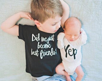 Baby bodysuit Did we just become best friends yep Twin matching best friend brother sister bodysuits baby shower gift