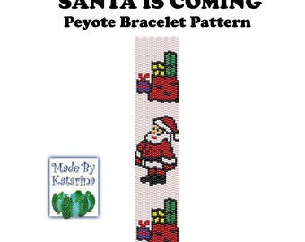 Peyote Pattern - Santa is Coming - INSTANT DOWNLOAD PDF - Peyote Stitch Bracelet Pattern - Two Drop Even Peyote Stitch - Peyote Santa