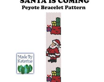 Peyote Pattern - Santa is Coming - INSTANT DOWNLOAD PDF - Peyote Stitch Bracelet Pattern - Two Drop Even Peyote Stitch - Peyote Santa