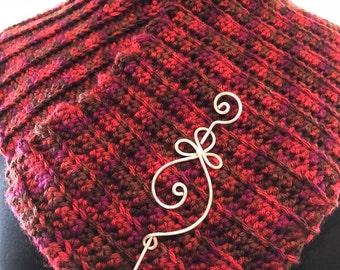 Red Tweed SCARF COLLAR w/Pin