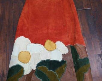 Vintag  Vtg 60s 70s Char Suede Leather Patchwork Wrap Skirt Boho Hippie Festival Whipstitch