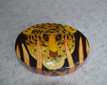 Hand-Painted & Lacquered Box From Kashmir, India---Tiger in the Reeds Design---From 1977