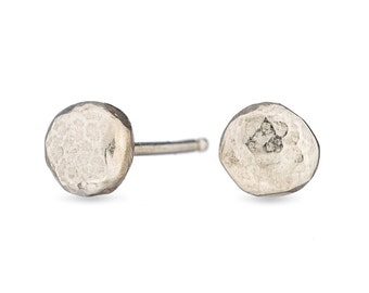 tiny silver pebble studs- sterling silver