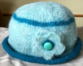 Two Tone Teal 100% wool handmade felted hat