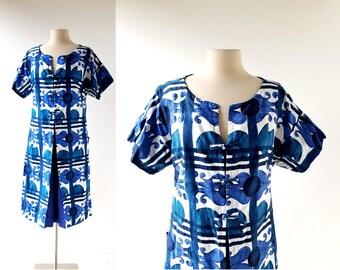 60s Hawaiian Dress | Cotton Muumuu | 1960s Dress | Large L