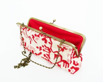 Clutch bag, kimono fabric, red and cream Japanese kimono fabric, evening purse