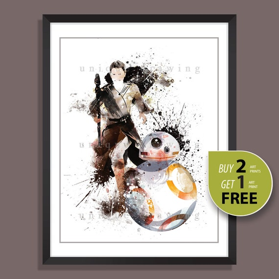 Star Wars movie poster Star Wars poster Rey and BB8 print