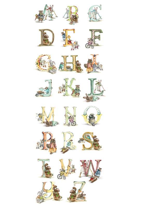 Personalisierte Kinder Buchstabe E Individuelle Illustrated Alphabet