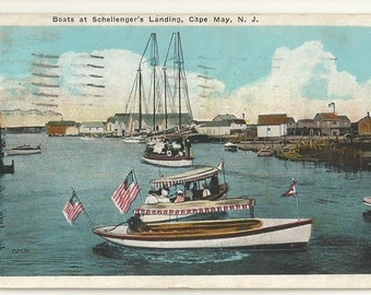 1920s White Border WB Postcard- Boats at Schellenger's Landing, Cape May, Cape May County, New Jersey, N.J. ~ Free Shipping ~ Small Town PC