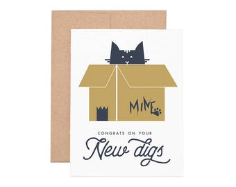 New Digs Letterpress Greeting Card - Congrats | Congratulations Card | Greeting Cards | Letterpress Cards