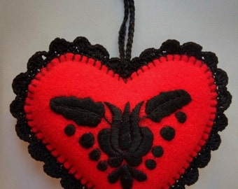 Hand-embroidered felt heart needle pillow with hanger, Hungarian embroidery
