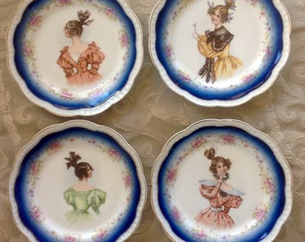 Set of 4 Antique Dessert Plates Zeh Sherzer Bavaria 1880s