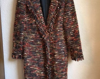 Laura Ashley Coat Warm And Stylish With Fringe Cuffs And Lapel