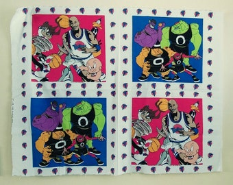 Vintage Space Jam Pillow Panels, Michael Jordan and Looney Tunes, 1996, Crafts, Kids, Boys, Girls Decor FREE SHIP