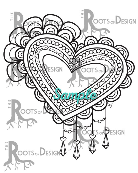 Instant download coloring page fancy lace heart coloring print doodle art printable