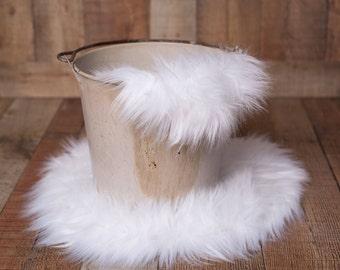 """18"""" White Colored Sitter Rug, Basket Filler, Basket Stuffer, Layer Blanket, Newborn Prop, Newborn Basket Filler, Sitter Prop, Prop"""