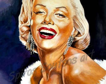 """Marilyn Monroe """"Seven Years Itch"""", Canvas print, movie poster art, original painting portrait"""