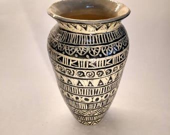 Small black and white vase