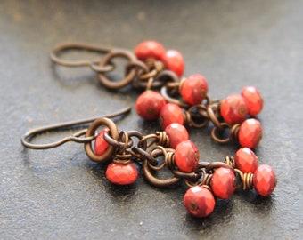 Coral Czech Glass Brass Chain Cluster Earrings